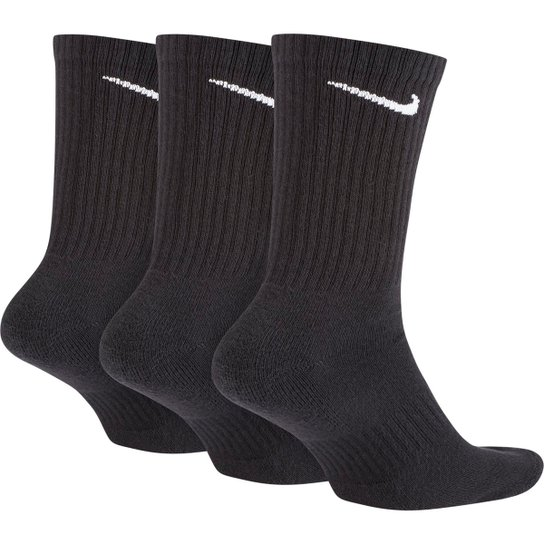 Meia Nike Cano Alto Everyday Cushion Pacote C/ 3 Pares - Preto