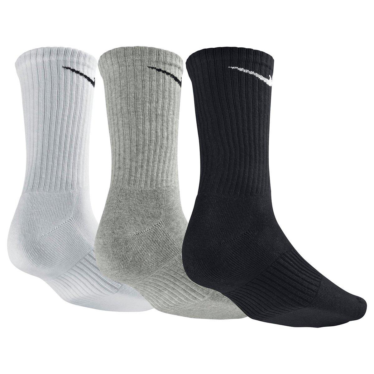 Meia Nike Cano Alto Pacote c  3 Pares - Branco e Preto - Compre ... 819b073490f6a