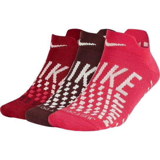 Meia Nike Cano Baixo Everyday Max Cushion Pacote C/ 3 Pares - Vermelho+Branco
