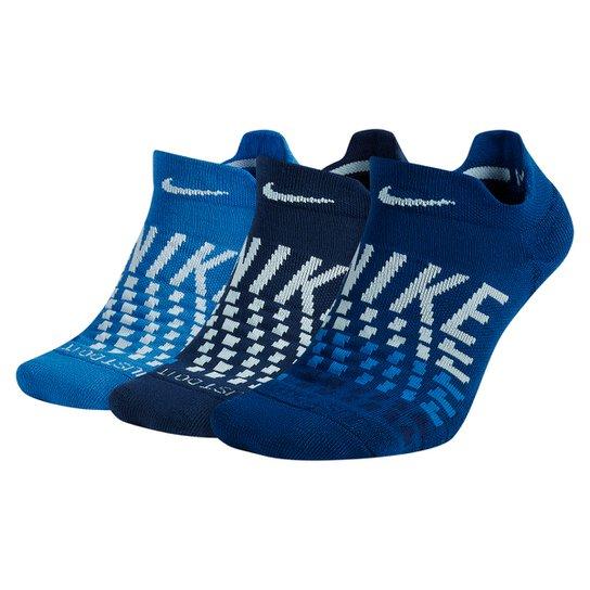 Meia Nike Cano Baixo Everyday Max Cushion Pacote C/ 3 Pares - Azul+Branco