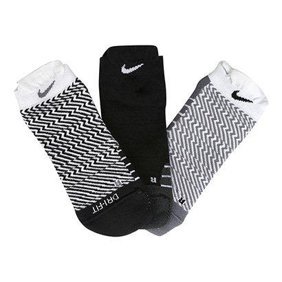 Meia Nike Sem Cano Dri-Fit Cushion Pacote Com 3 Pares Feminina