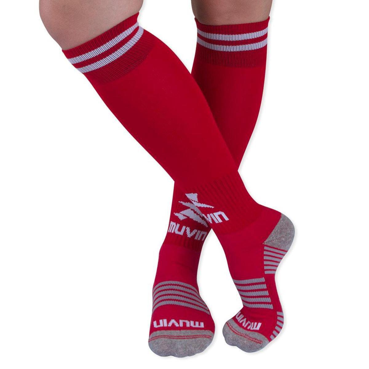 Meião Futebol Confort Juvenil Muvin - Vermelho e Branco - Compre ... fd33addfa4d06