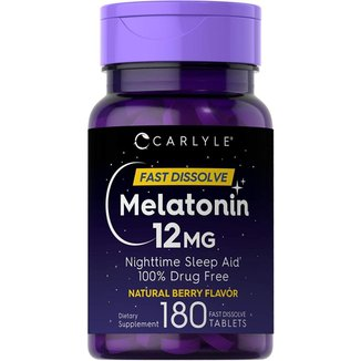 Melatonina Carlyle - Fast Dissolve - Sabor Berry Natural - 12mg (180 Tabletes)