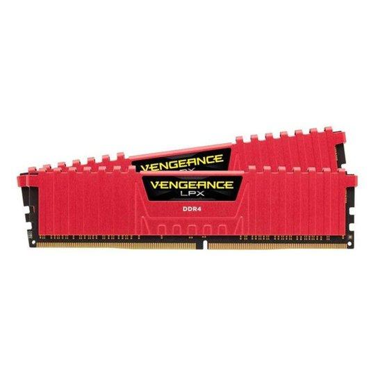 Memoria Corsair Vengeance LPX 8GB (2x4) DDR4 2666MHz Vermelha, CMK8GX4M2A2666C16R - Vermelho