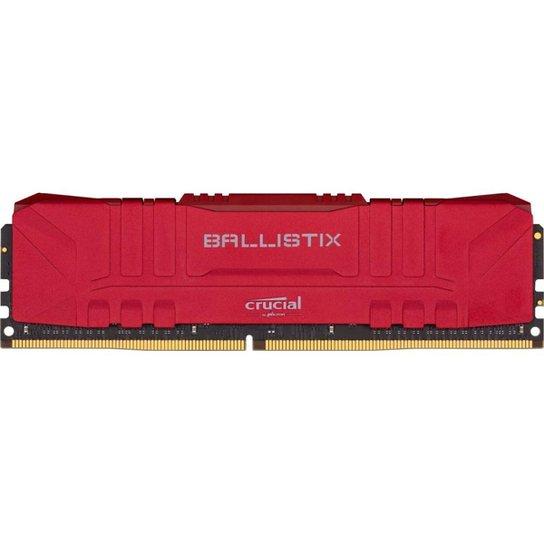 Memoria Crucial Ballistix 8GB (1x8) DDR4 3000Mhz Vermelha, BL8G30C15U4R - Vermelho