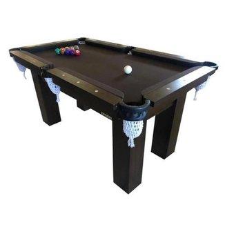 Mesa de Sinuca Snooker Bilhar Engers 0,90 x 1,60 Base de Pedra Tabaco Tecido Chocolate