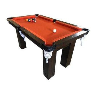 Mesa de Sinuca Snooker Bilhar Engers 0,90 x 1,60 Base de Pedra Tabaco Tecido Laranja