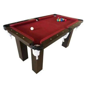 Mesa de Sinuca Snooker Bilhar Engers 0,90x1,60 Base de Pedra Tabaco Tecido Vinho