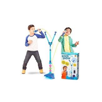 Microfone Infantil Duplo Rock Show Musical Com Mp3 Luz Amplificador - Dm Toys - Azul