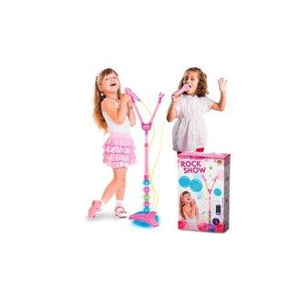 Microfone Infantil Duplo Rock Show Musical Com Mp3 Luz Amplificador - Dm Toys - Rosa