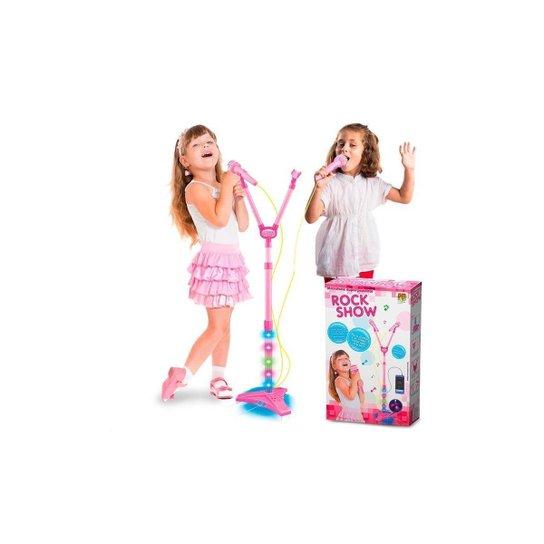 Microfone Infantil Duplo Rock Show Musical Com Mp3 Luz Amplificador - Dm Toys - Rosa - Rosa