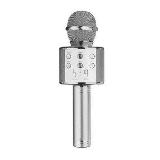 Microfone Sem Fio Bluetooth Karaokê WS 858 Gravador Com Som Prata