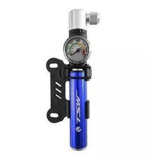 Mini Bomba De Ar Pneu Para Bicicleta Com Manômetro Alumínio Tsw