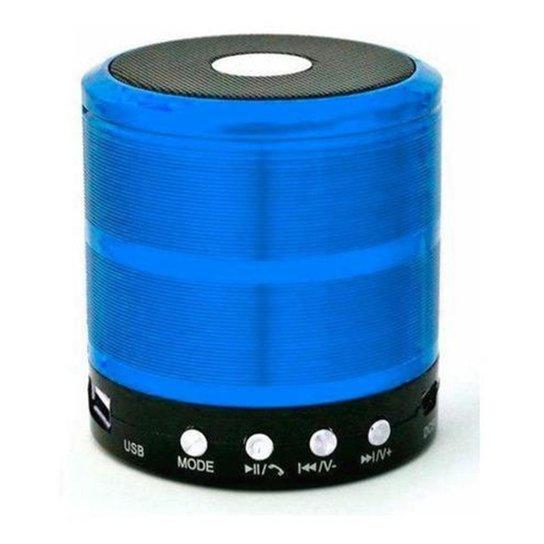 Mini Caixinha Portátil Som Bluetooth Usb Mp3 P2 Sd Rádio Fm - Azul