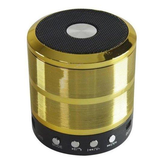 Mini Caixinha Portátil Som Bluetooth Usb Mp3 P2 Sd Rádio Fm - Dourado