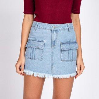 Mini Saia Jeans Bolsos Frontais Lapela Delavê