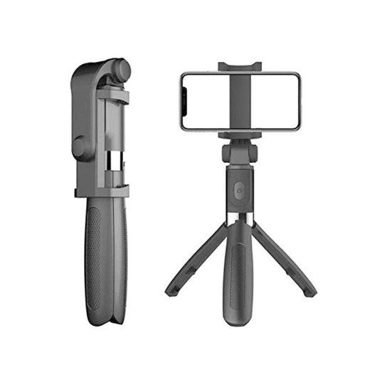 Mini Tripé Extensível Com Bastão Pau de Selfie e Controle Bluetooth Android / IOS - Preto