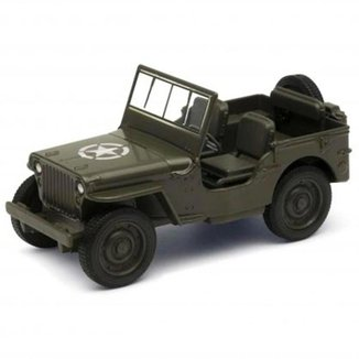 Miniatura Welly Jeep Willys 4,5Pol Pull Back Verde Oliva
