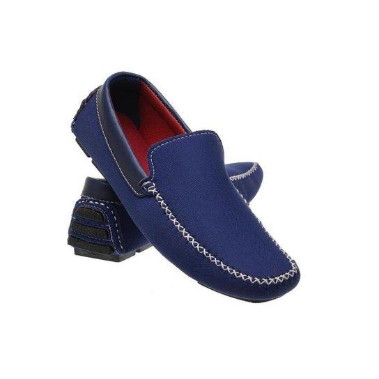 Mocassim Masculino Resistente Macio Camurça Confortável - Azul