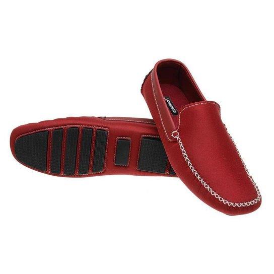 Mocassim Masculino Resistente Macio Camurça Confortável - Vermelho