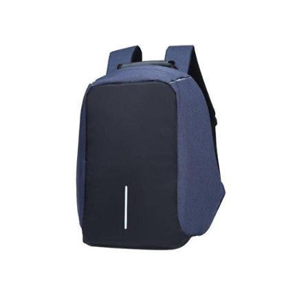 Mochila Anti-Furto Azul Compartimento Para Notebook Laptop Saída USB Carregamento De Dispositivos - Unissex