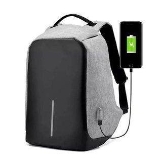 Mochila Anti Furto Cinza Dois Bolsos Internos Saída USB Carregamento De Dispositivos