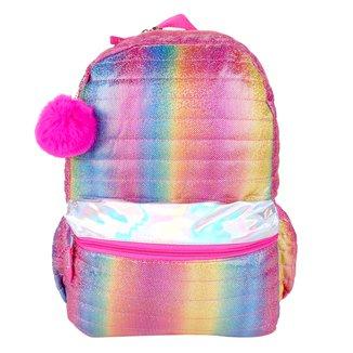 Mochila Escolar Clio Style Arco-Íris Pompom Feminina