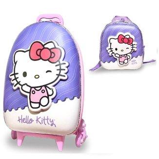 Mochila Escolar de Rodinhas Hello Kitty lancheira Maxtoy