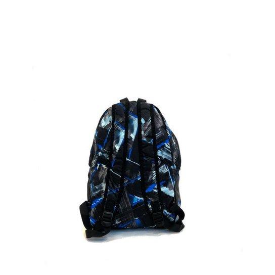 Mochila escolar estampada com bolso externo e zíper - Preto