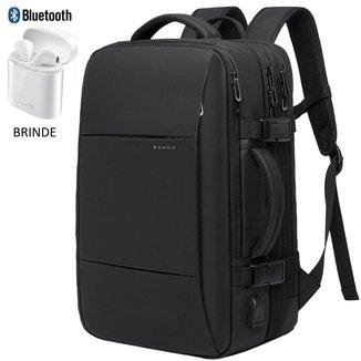 Mochila Executiva Viagem Bange USB Preta + Brinde Fone Bluetooth i12