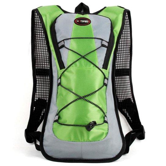 Mochila Hidratação Impermeável Com Bolsa De água 2 Litros Yangfit - Verde+Cinza