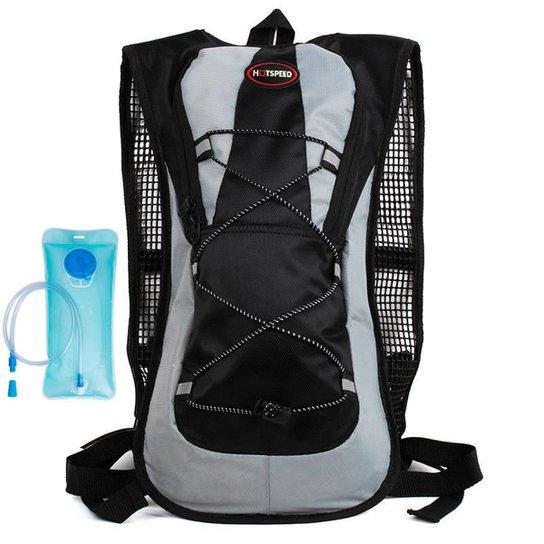 Mochila Hidratação Impermeável Com Bolsa De água 2 Litros Yangfit - Preto+Cinza