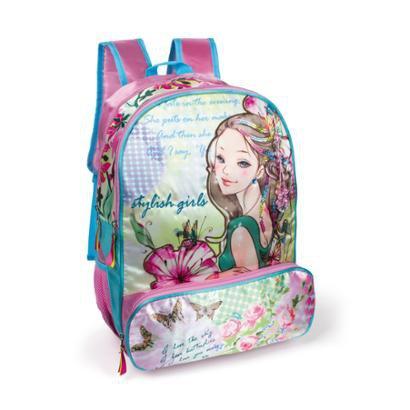 Mochila Infantil LS Bolsas C/ divisão principal 1 compartimento frontal 3 bolsos - Feminino