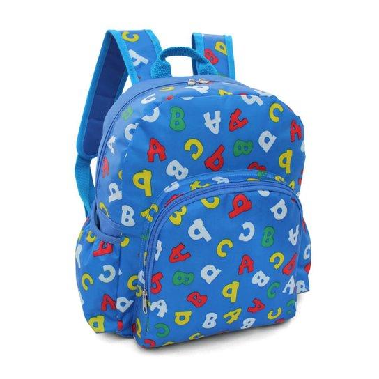 Mochila Infantil LS Bolsas com bolso frontal e 2 bolsos laterais - Azul