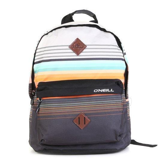 Mochila Oneill Stripes Básica - Preto+Laranja