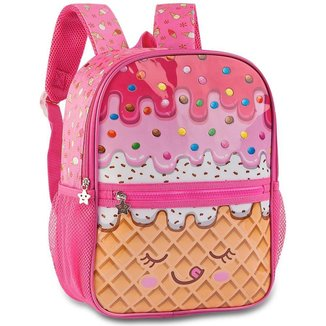 Mochila Pequena Escolar para Meninas em Poliéster - Candy Truck - Clio