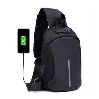 Mochila Transversal Anti Furto com Senha Cross Body USB Tablet Alça única