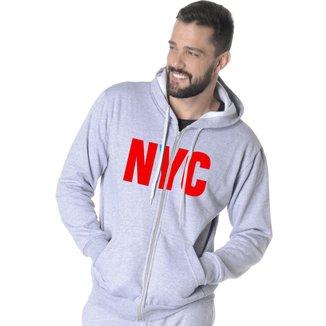 Moletom Aberto Estampa New York City Masculino