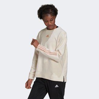 Moletom Adidas Doubleknit 3 Listras Feminino