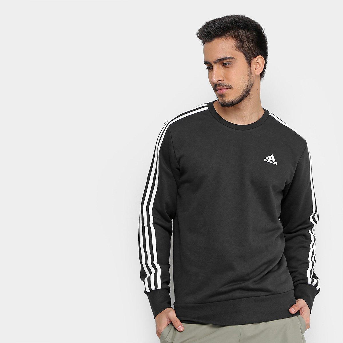 96df863d3c8a2 Moletom Adidas Ess 3S Crew Masculino - Preto e Branco - Compre Agora ...