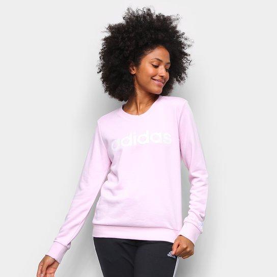 Moletom Adidas Essentials Linear Feminino - Rosa Escuro+Branco