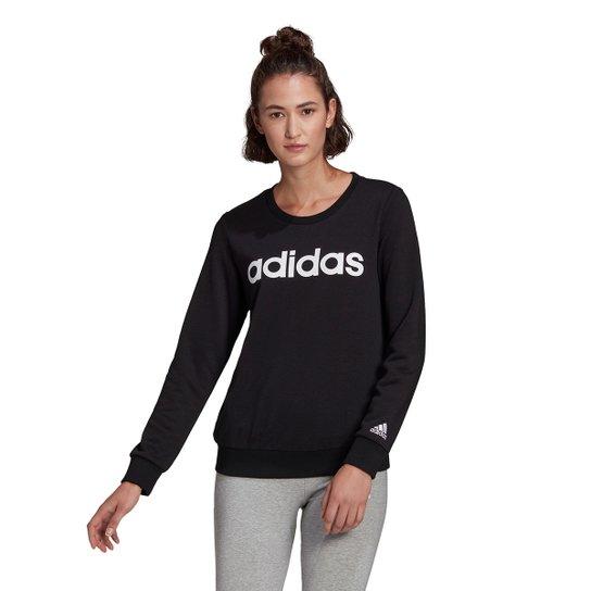 Moletom Adidas Essentials Linear Feminino - Preto+Branco