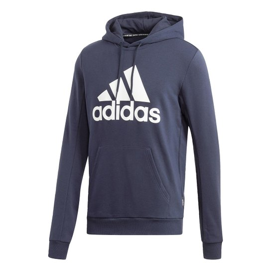 Moletom Adidas Logo Canguru Masculino - Marinho+Branco