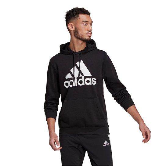 Moletom Adidas Logo Capuz Masculino - Preto+Branco