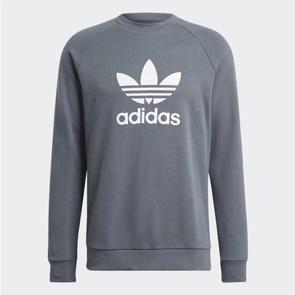 Moletom Adidas Trefoil Warm-Up Crewneck Cinza