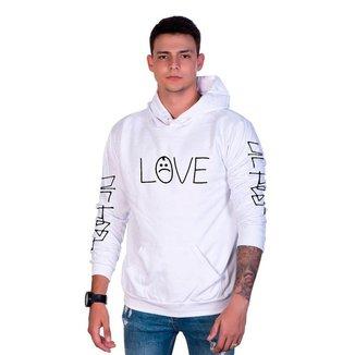 Moletom Algodão Masculino Love Bolso Canguru Capuz Casual