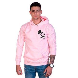 Moletom Algodão Masculino Rosa Bolso Canguru Capuz Casual