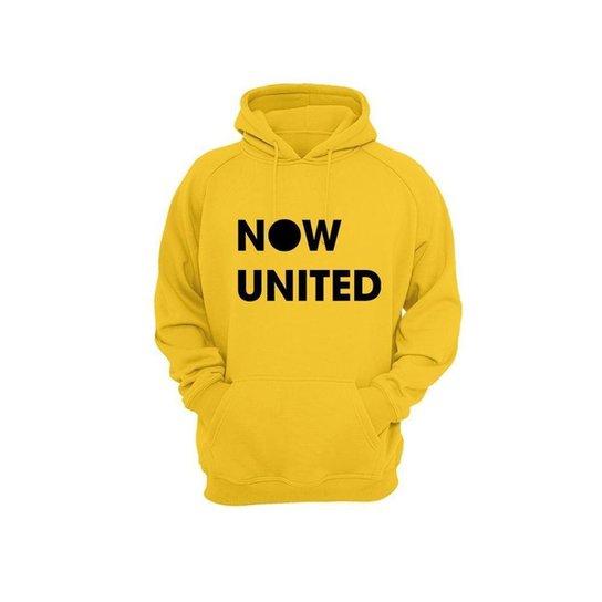 Moletom Algodão Now United Masculino Bolso Canguru Casual - Amarelo