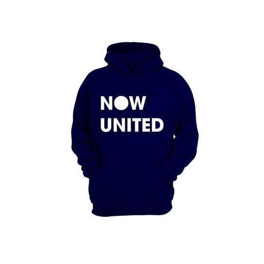 Moletom Algodão Now United Masculino Bolso Canguru Casual - Azul Escuro