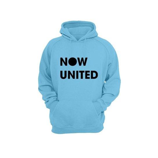 Moletom Algodão Now United Masculino Bolso Canguru Casual - Azul Claro